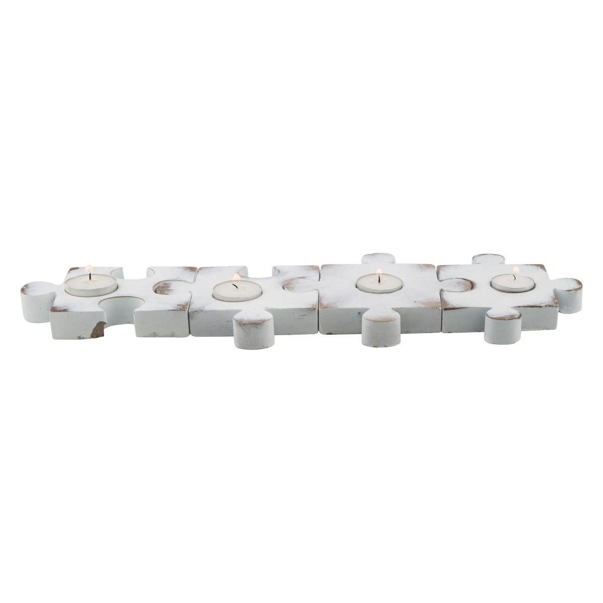 Kona 4 Piece Concrete Puzzle Tealight Holder Set, Distressed White