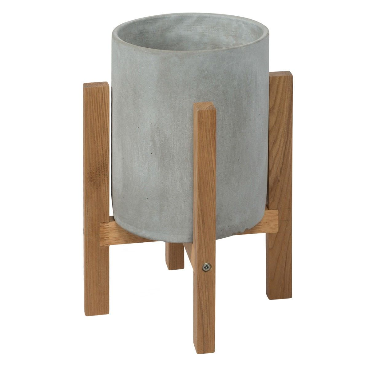 Royale Concrete Round Planter on Oak Stand, Small