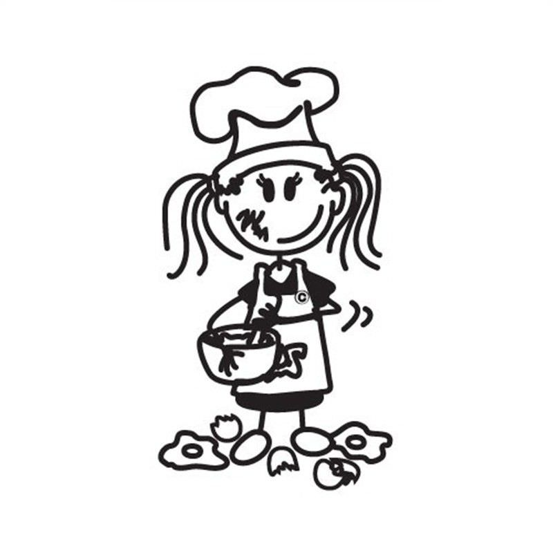 Chef Young Girl Funny Family Car Sticker