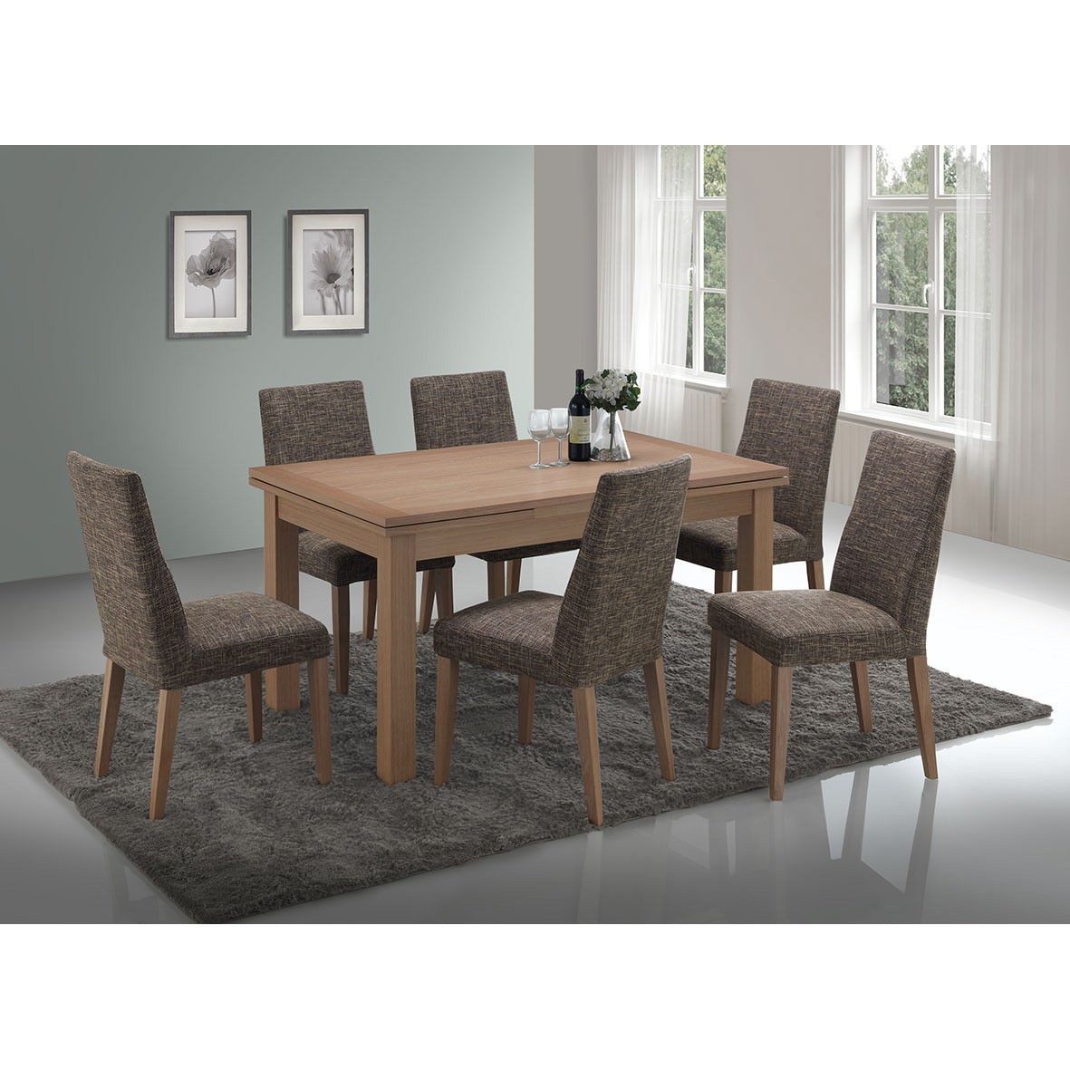 Yaron 7 Piece American Oak Timber Extensible Dining Table ...