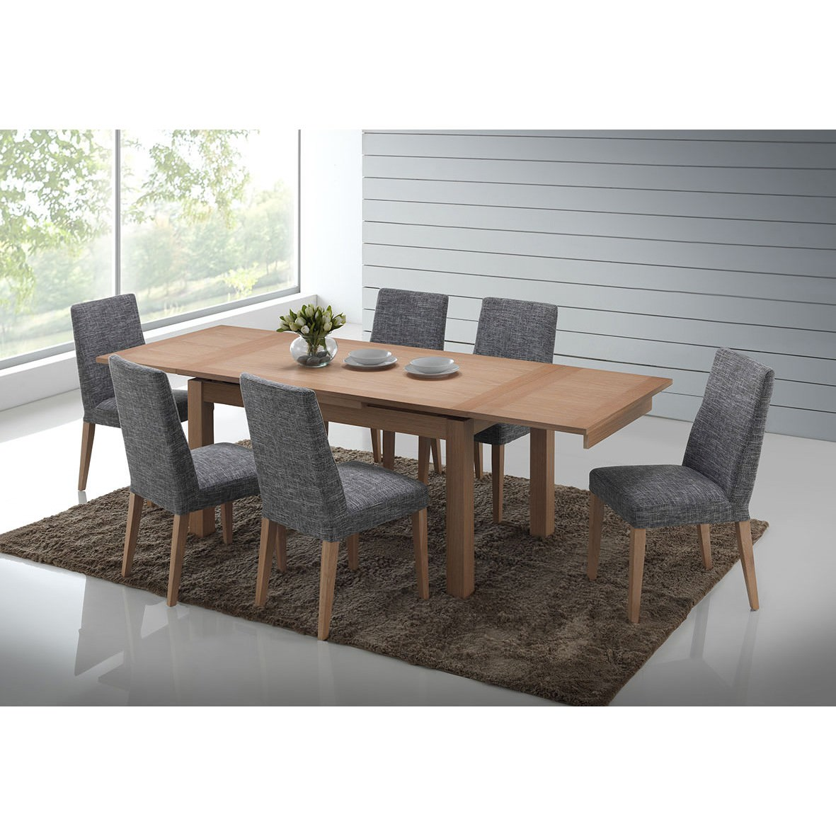 Yaron 7 Piece American Oak Timber Extensible Dining Table Set, 150cm-250cm, Grey Chairs