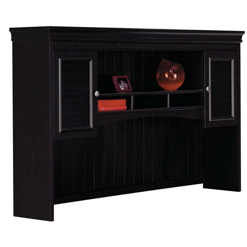 Oxley Antique Engineered Wood Desk Hutch, Black