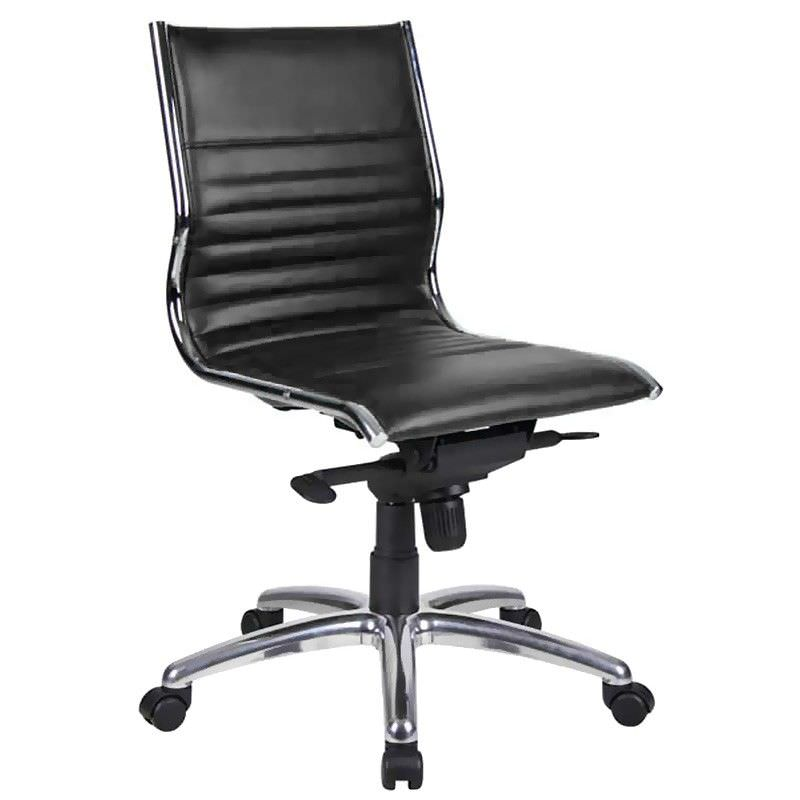 Nordic PU Leather Mid Back Executive Chair, Black