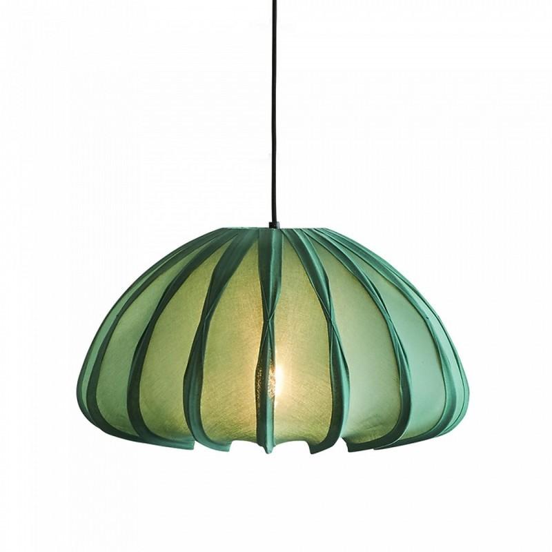 Anemone Cotton Fabric Lantern Pendant Light, Jade