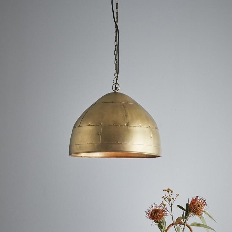 Jermyn Riveted Iron Dome Pendant Light, Small, Antique Brass