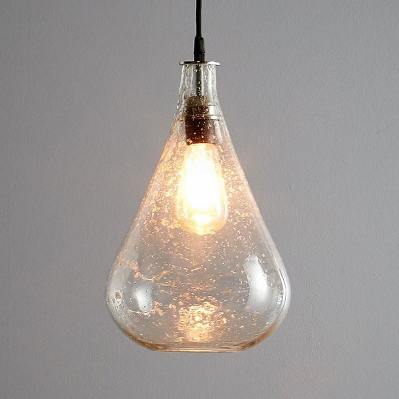 Lustre Glass Pendant Light, Teardrop, Clear