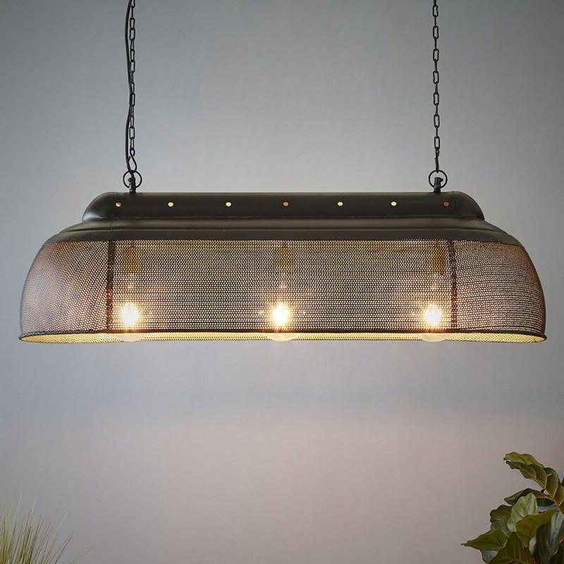 Riva Perforated Iron Elongated Pendant Light, Small, Matte Black