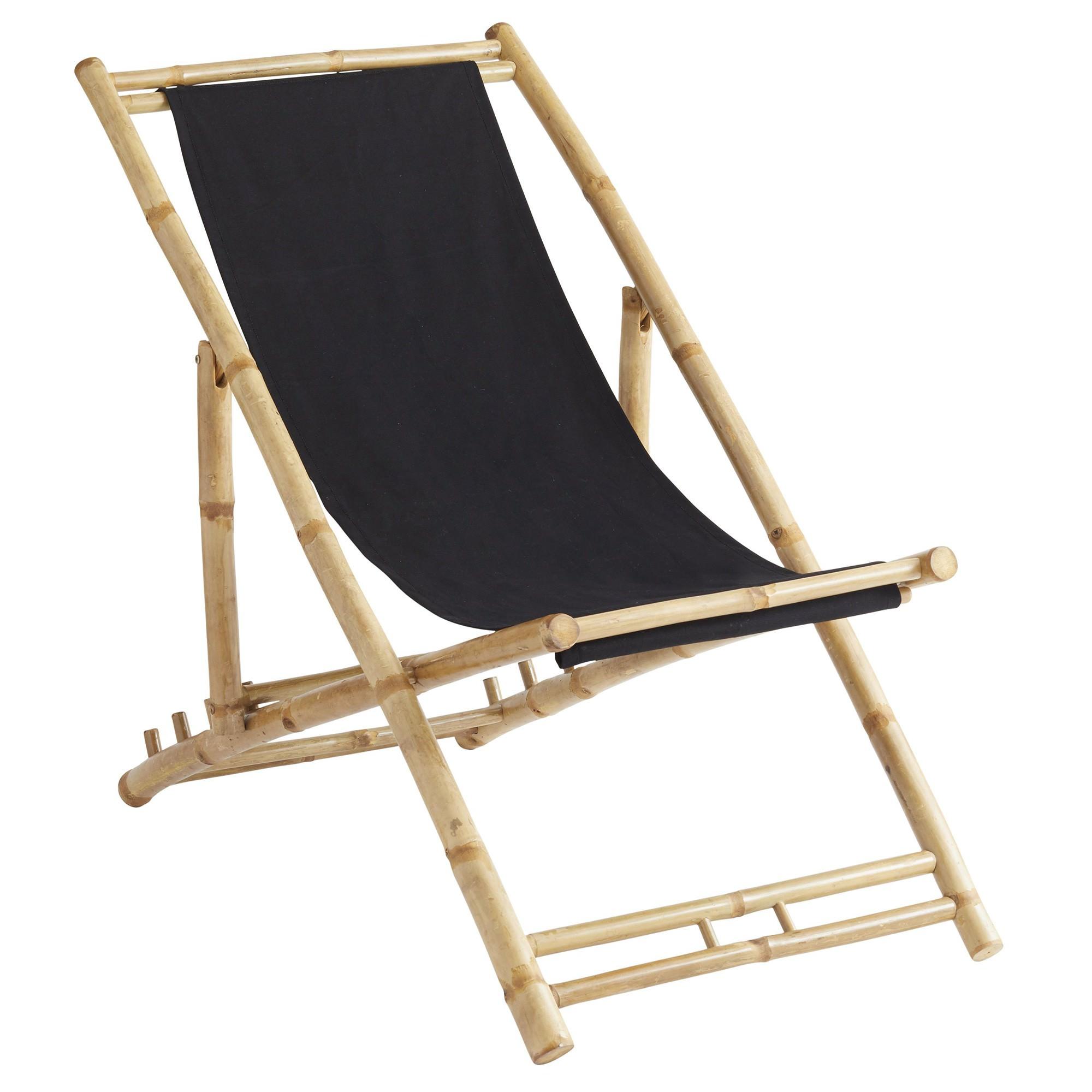 Sahnish Bamboo & Cotton Fabric Beach Chair,  Black / Natural
