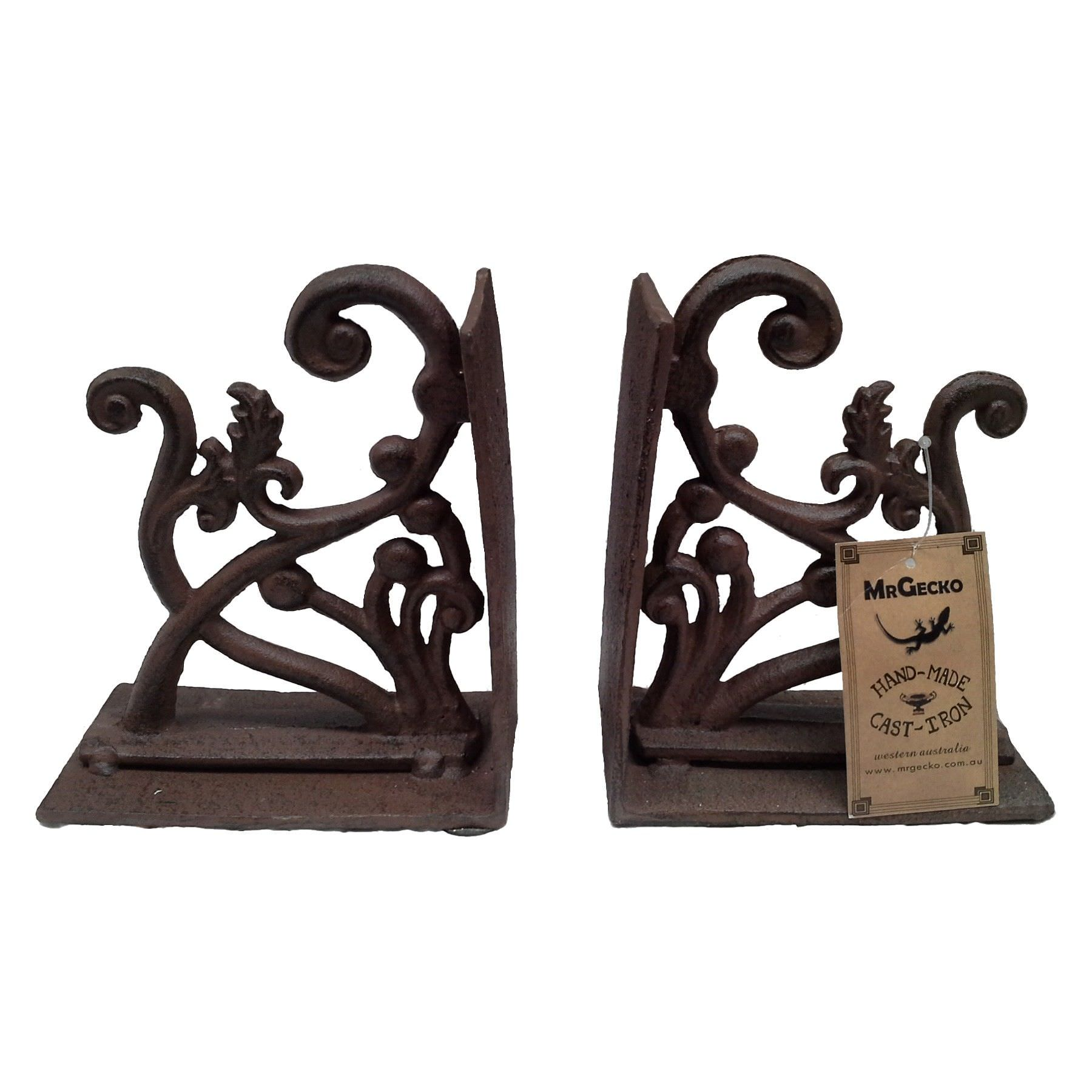 Ivy Cast Iron Book End Set, Antique Rust