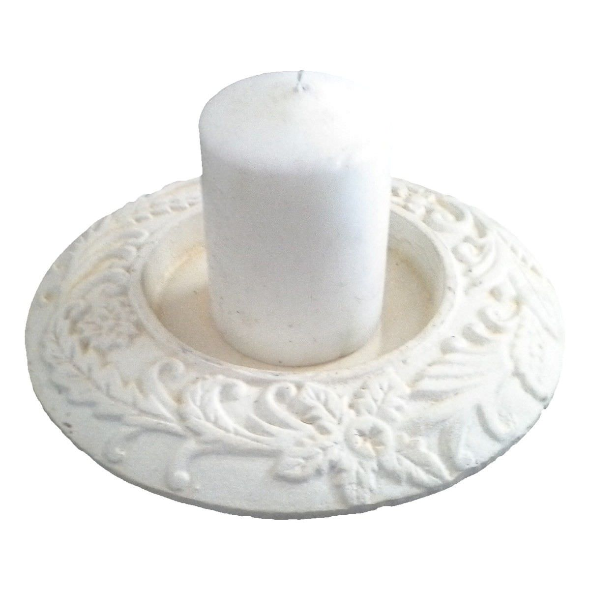 Cast Iron Fern Pattern Candle Plate, Antique White