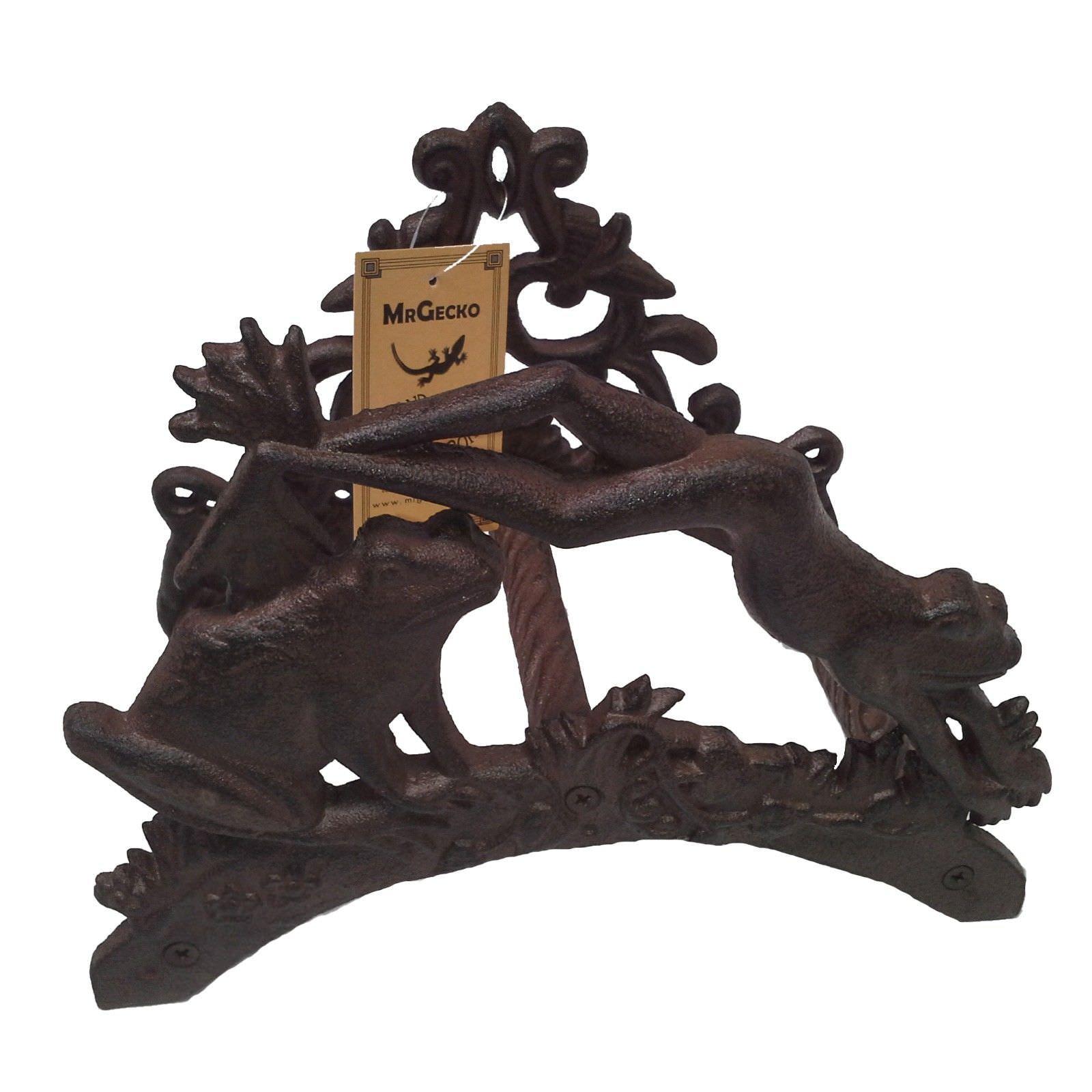 Cast Iron Twin Frog Garden Hose Holder, Antique Rust