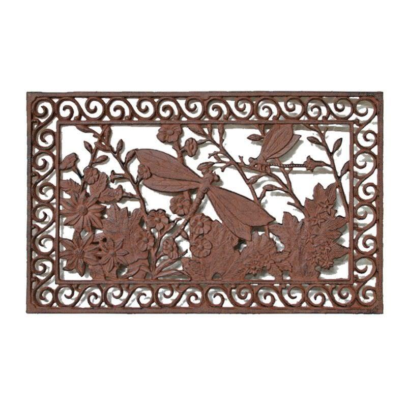 Cast Iron Dragonfly Garden Doormat, Antique Rust