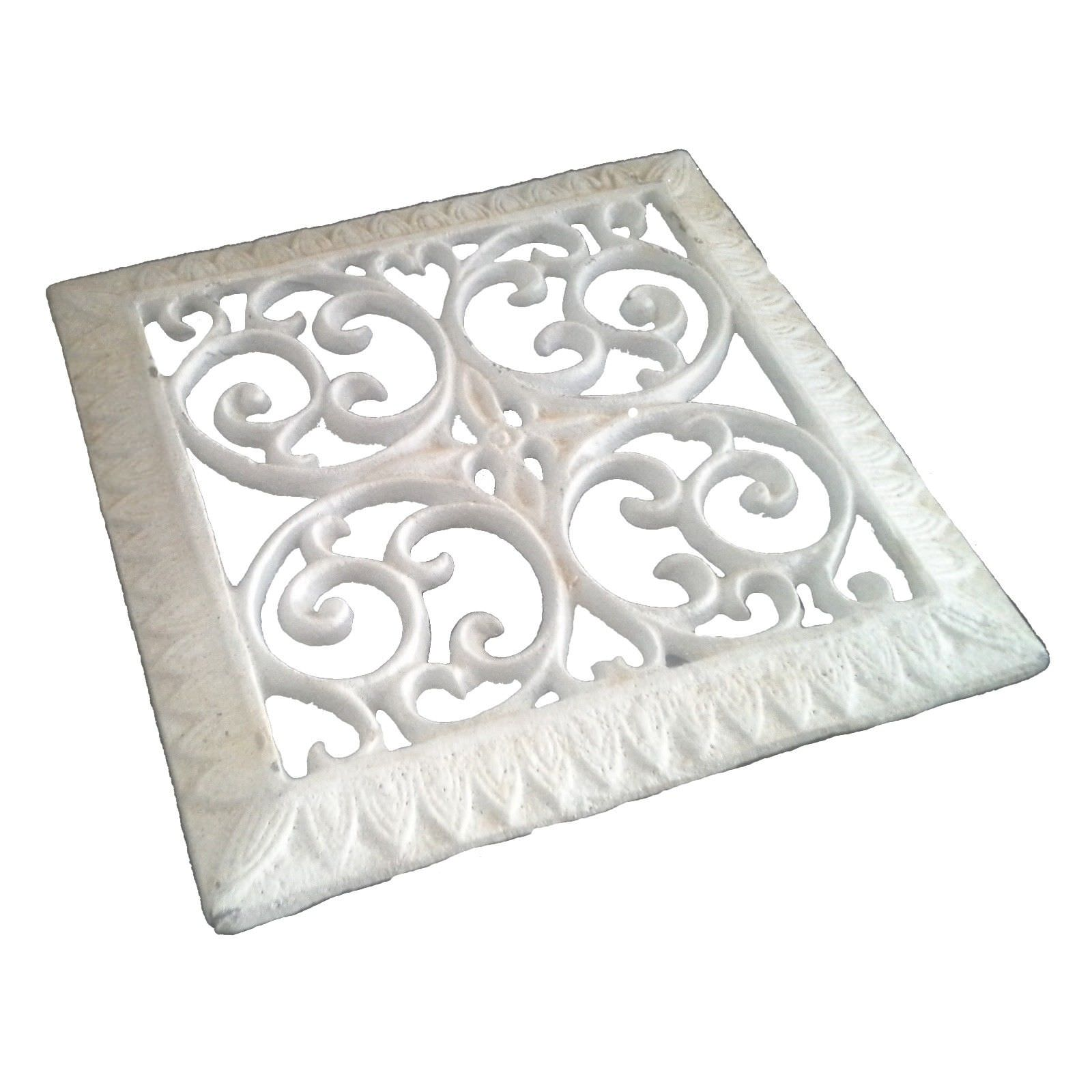 Agnes Cast Iron Square Trivet, Antique White