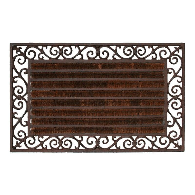 Bowen Cast Iron Garden Doormat with Coir, Antique Rust