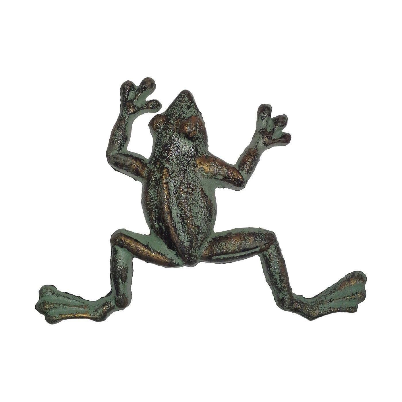 Cast Iron Frog Figurine Garden Decor, Small, Verdigris