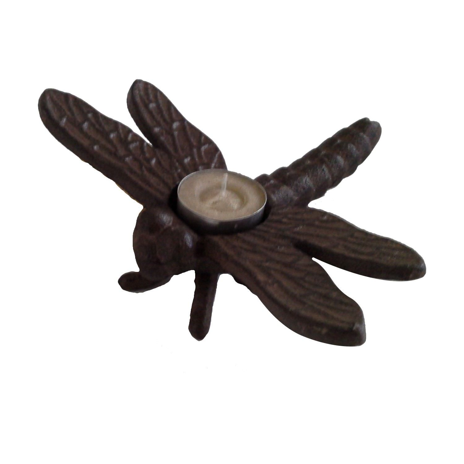 Cast Iron Dragonfly Tealight Holder, Antique Rust