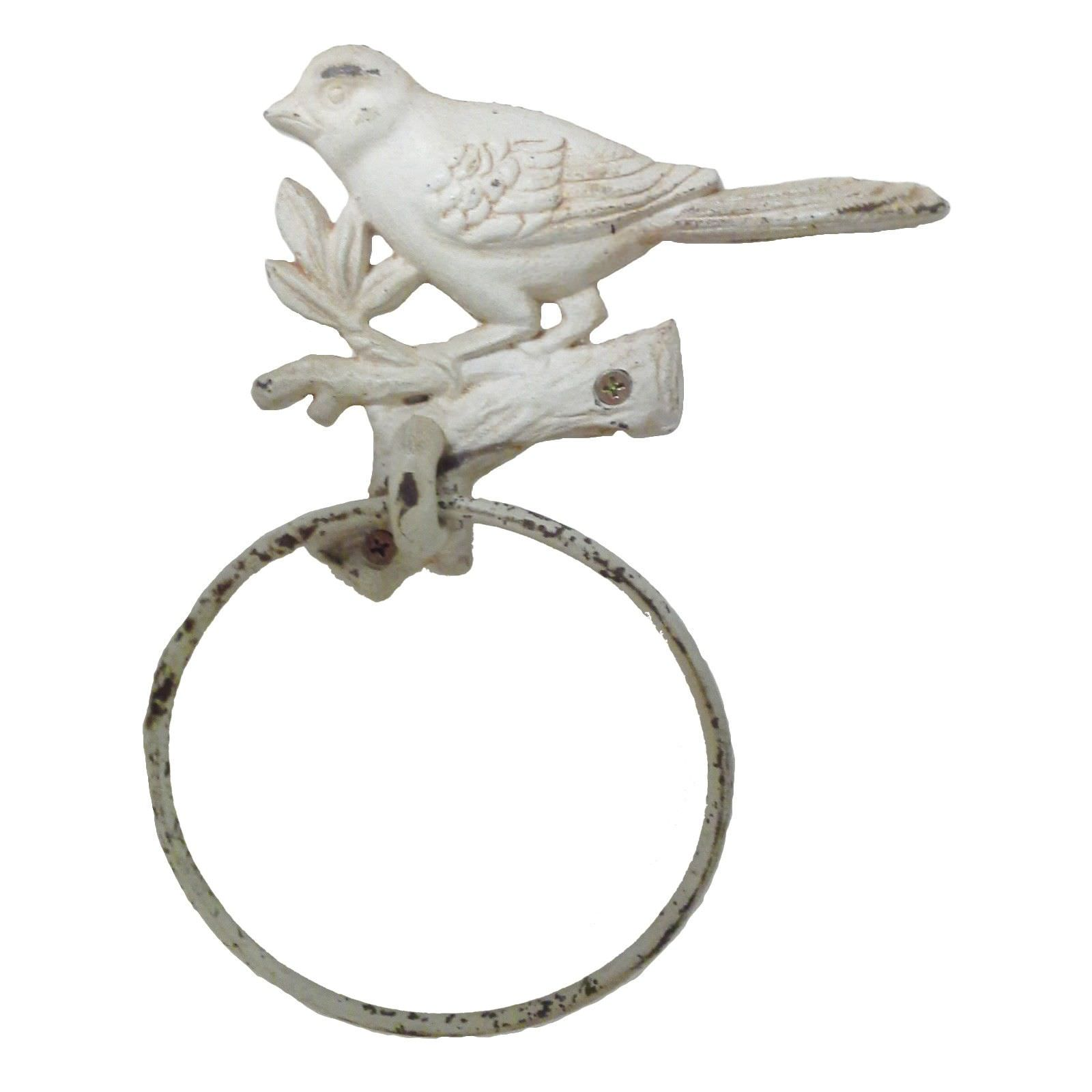 Tweet Cast Iron Towel Ring, Antique White