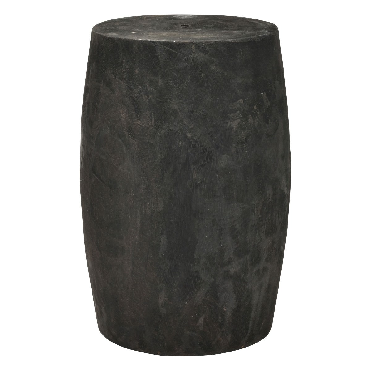 Jayapura Paulownia Wood Decor Drum Stool, Small, Black