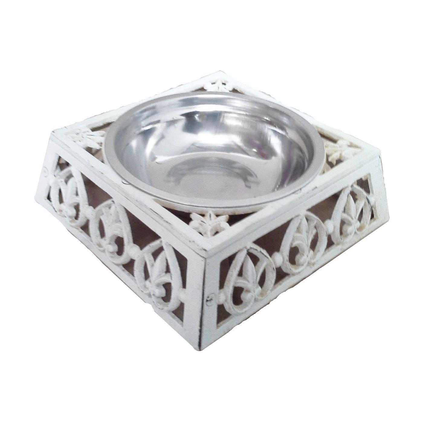 Curra Cast Iron Pet Bowl, Large, Antique Whtie