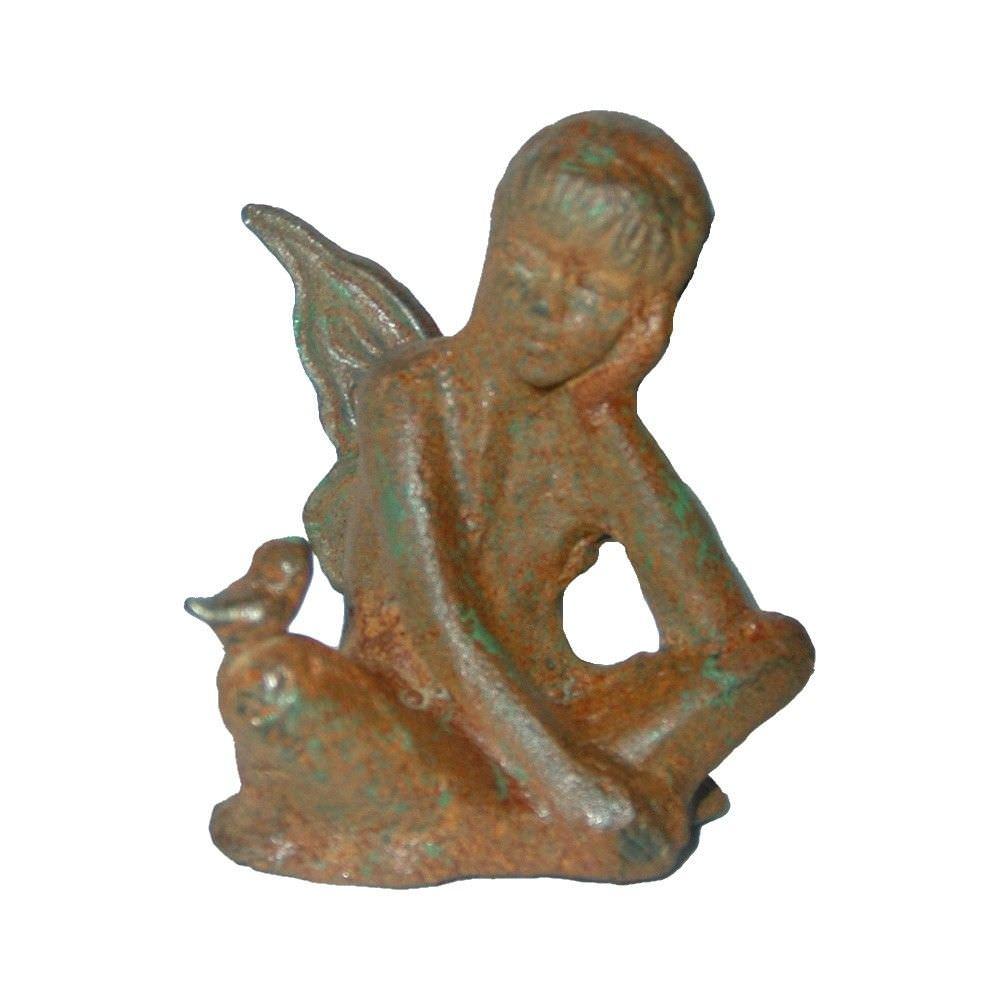 Cast Iron Fairy Zena Figurine Garden Decor, Antique Rust