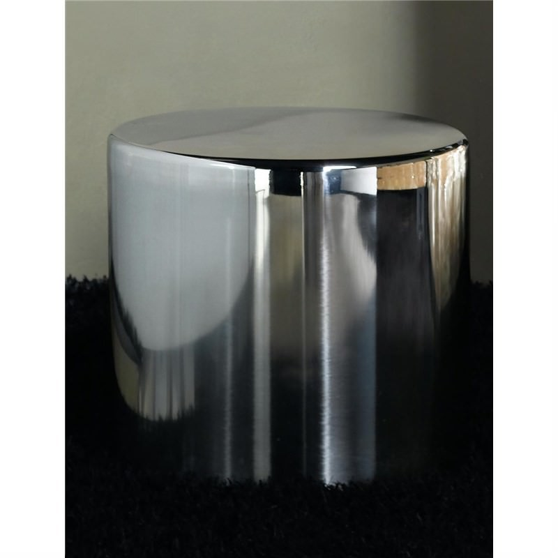 Polished Stainless Steel 48cm Round Side Table