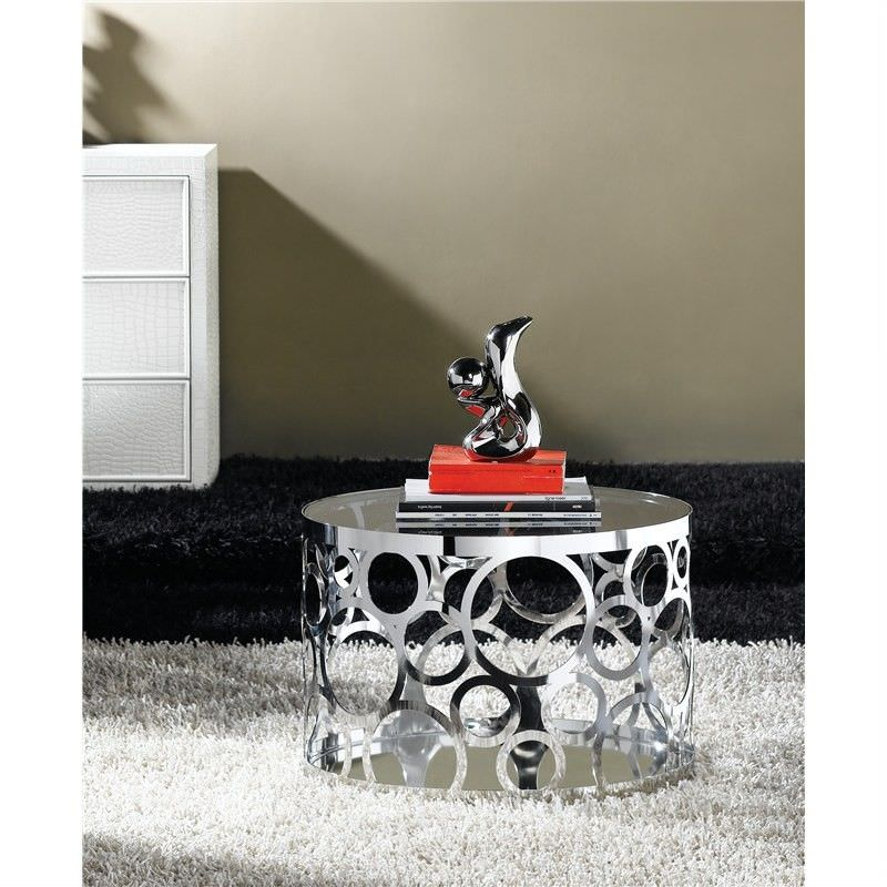 Laser Cut Stainless Steel Side Table With Tempered Glass And Mirror Base
