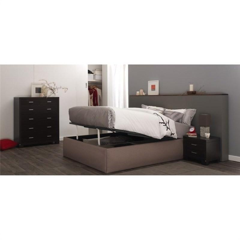 Marion Gas Lift Storage King Bed - Smoke Fabric Ensemble Base