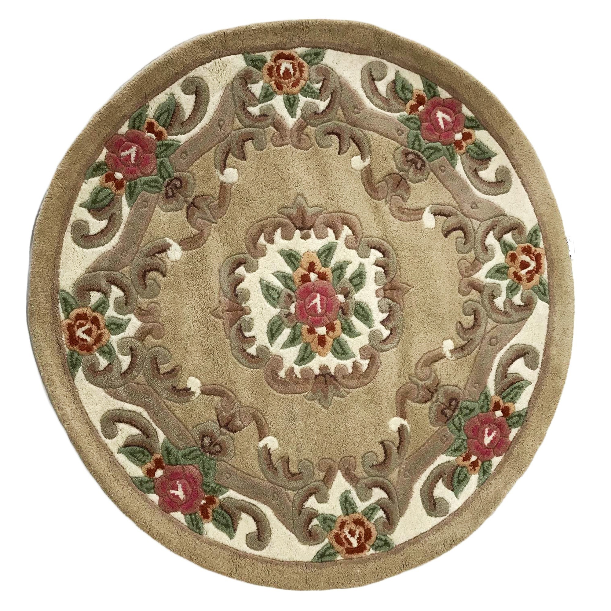 Avalon French Aubusson Round Wool Rug, 120cm, Fawn