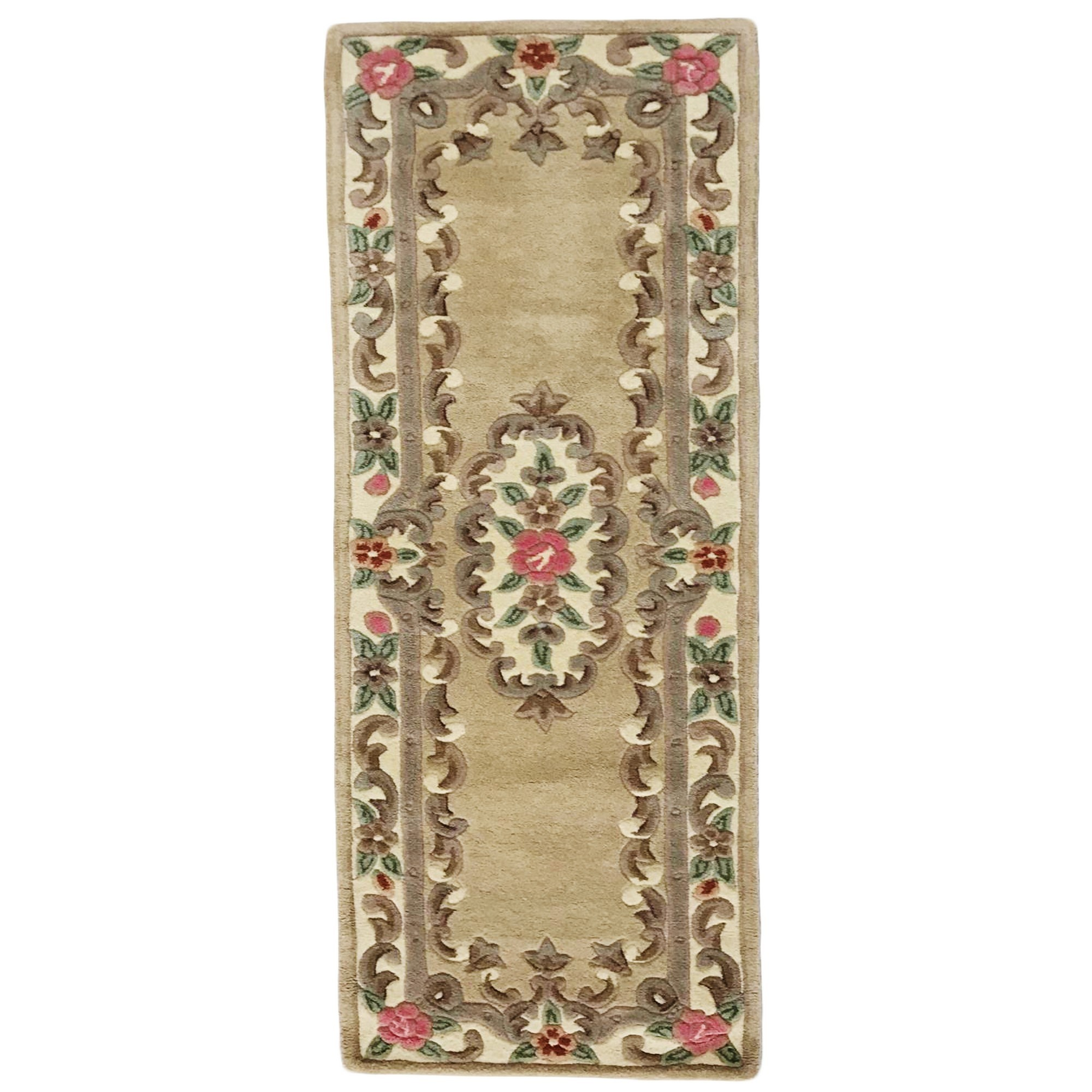 Avalon French Aubusson Wool Runner Rug, 210x67cm, Fawn