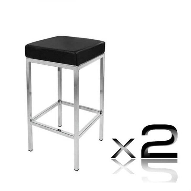2 x PU Leather Counter Stool - Black
