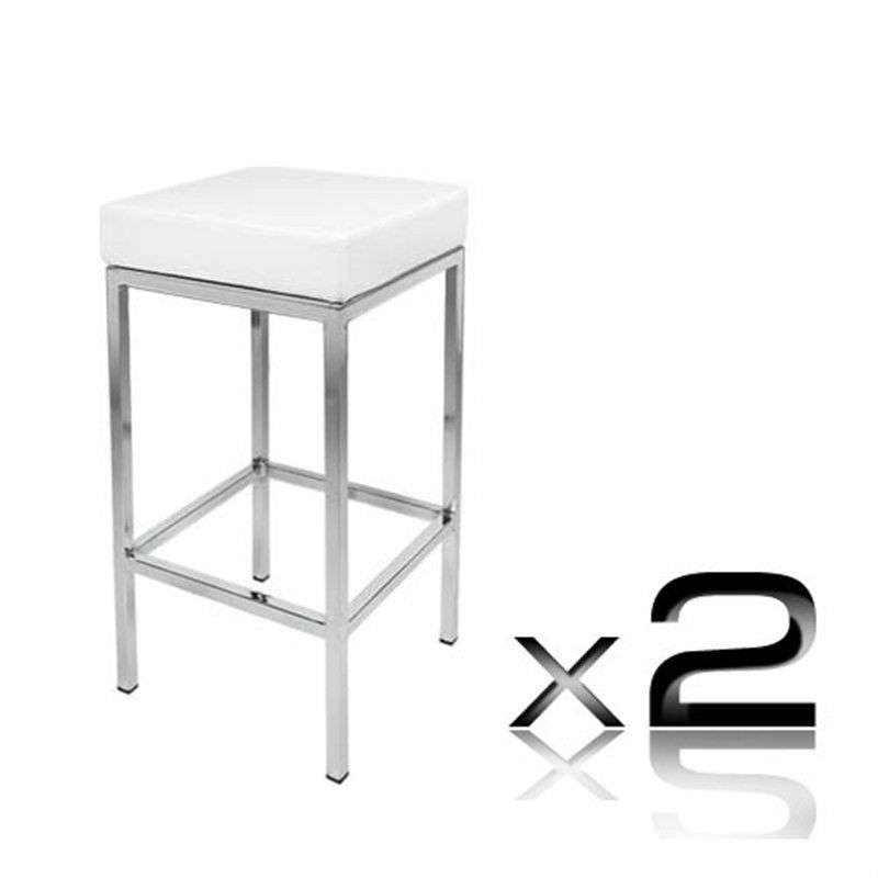 2 x PU Leather Counter Stool - White
