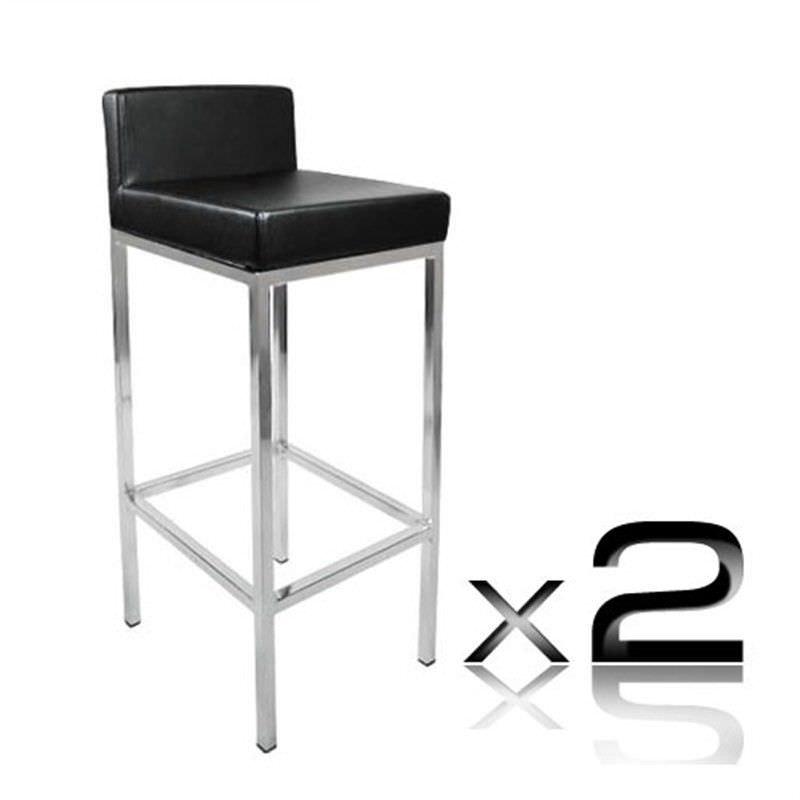 2 x PU Leather Bar Stool - Black