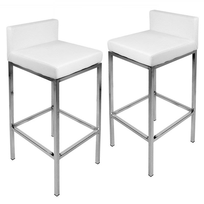 Set of 2  Contemporary PU Leather Bar Stools - White