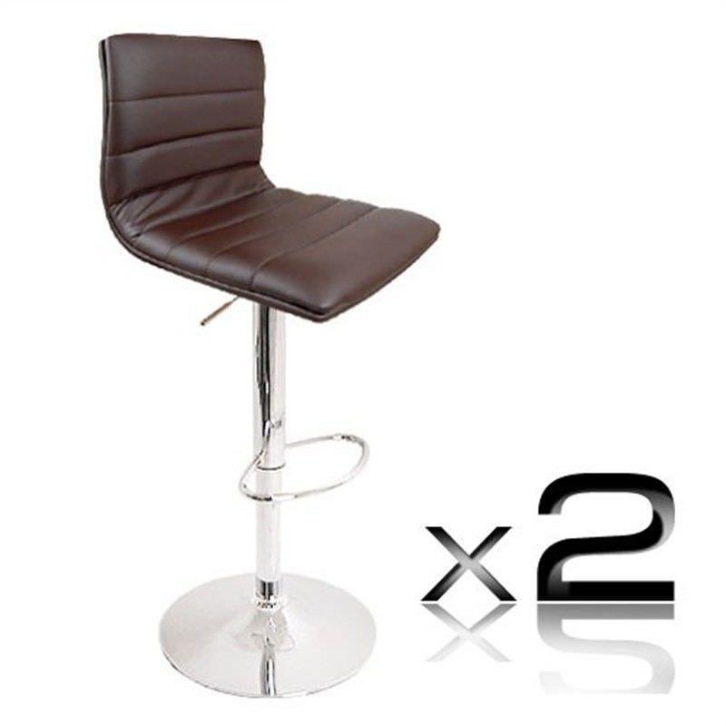2 x PU Leather Bar Stool - Chocolate