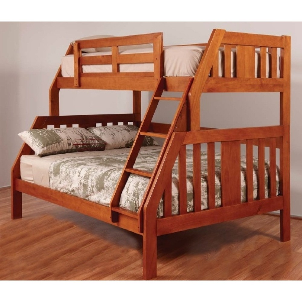 Troy Solid Pine Timber Trio Bunk Bed with Trundle - Teak Stain