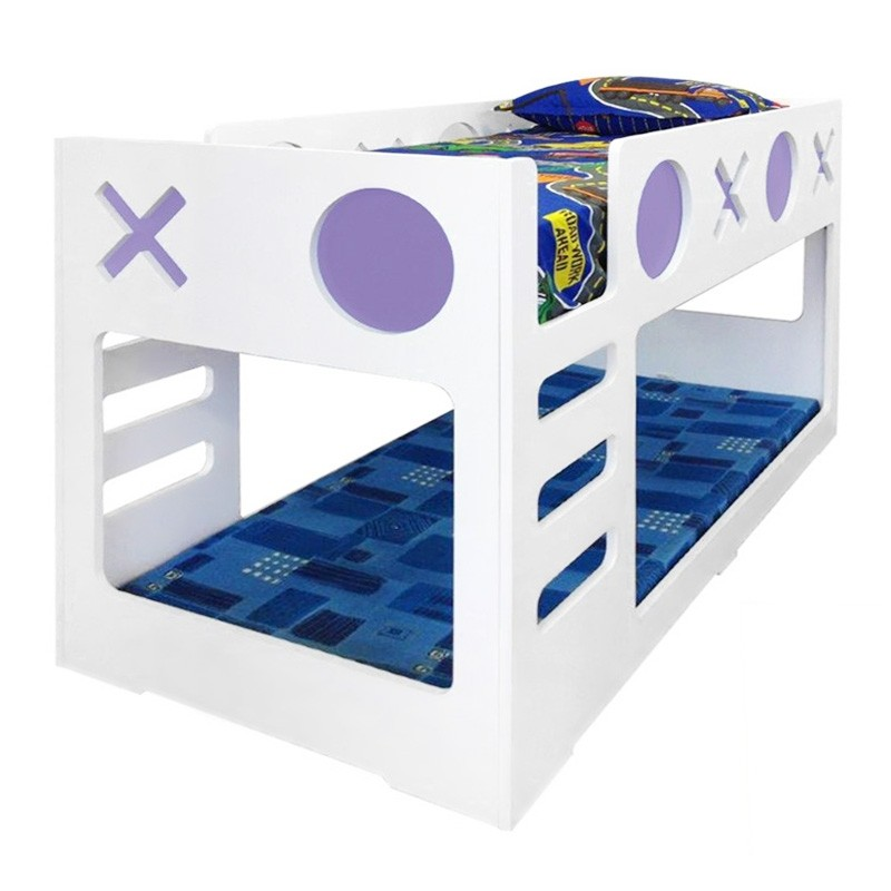 Tic Tac Toe Single Bunk Bed White Lilac
