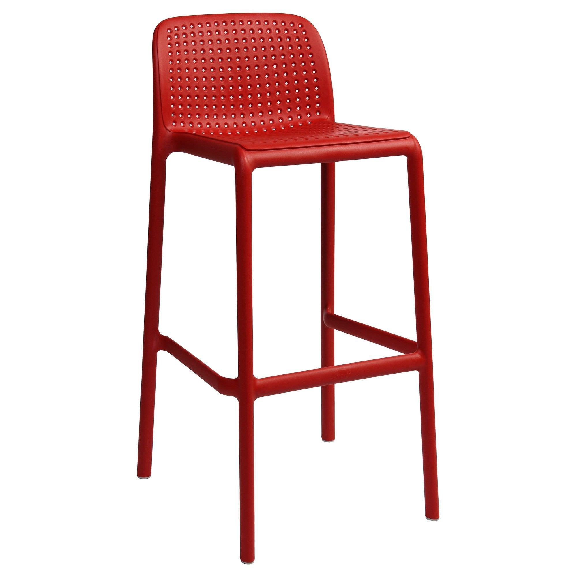 Bora Italian Made Commercial Grade Stackable Indoor/Outdoor Bar Stool , Red