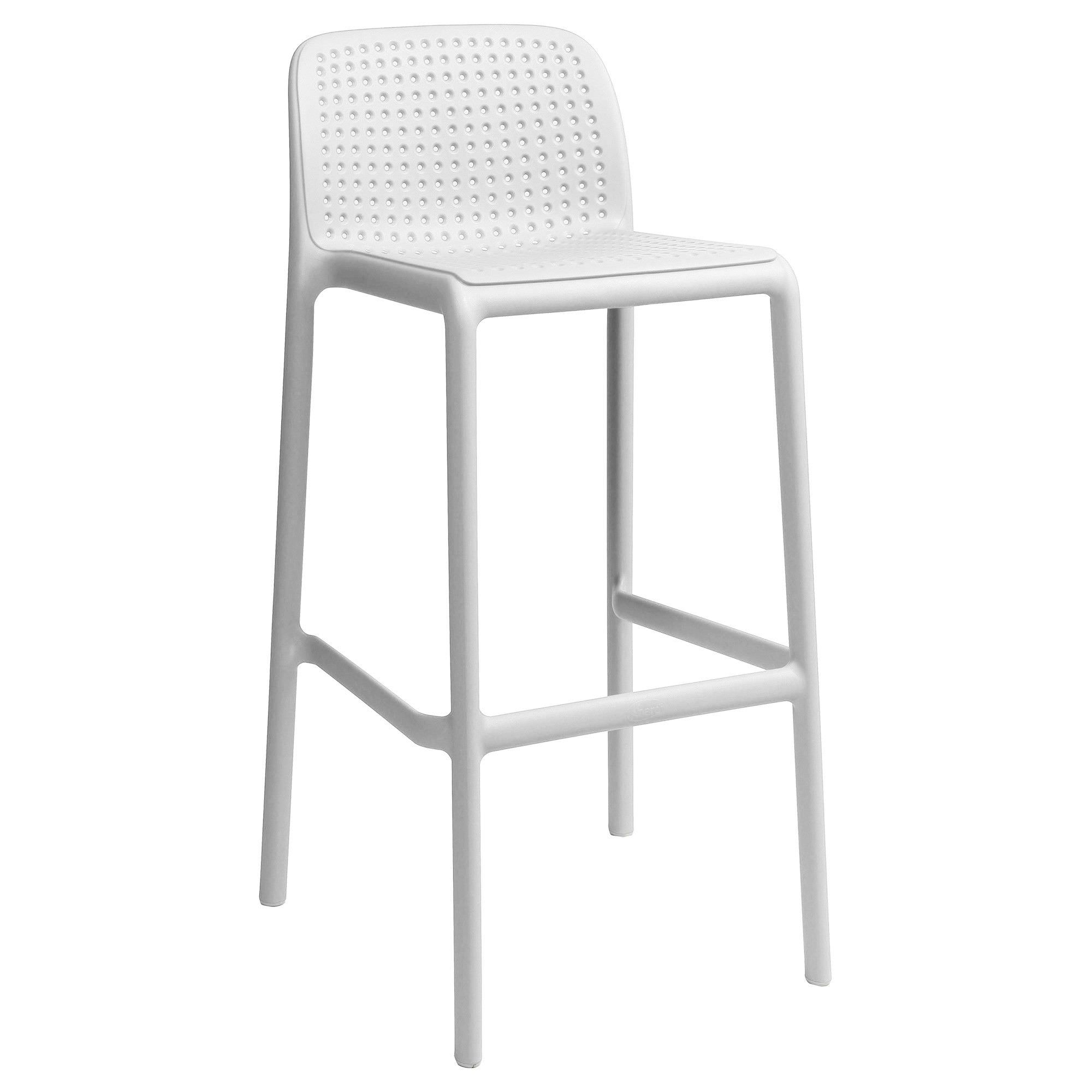Bora Italian Made Commercial Grade Stackable Indoor/Outdoor Bar Stool , White