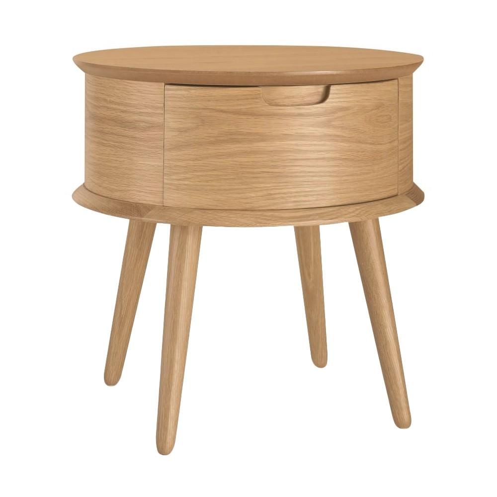 Resvol Wooden Round Side Table, Oak