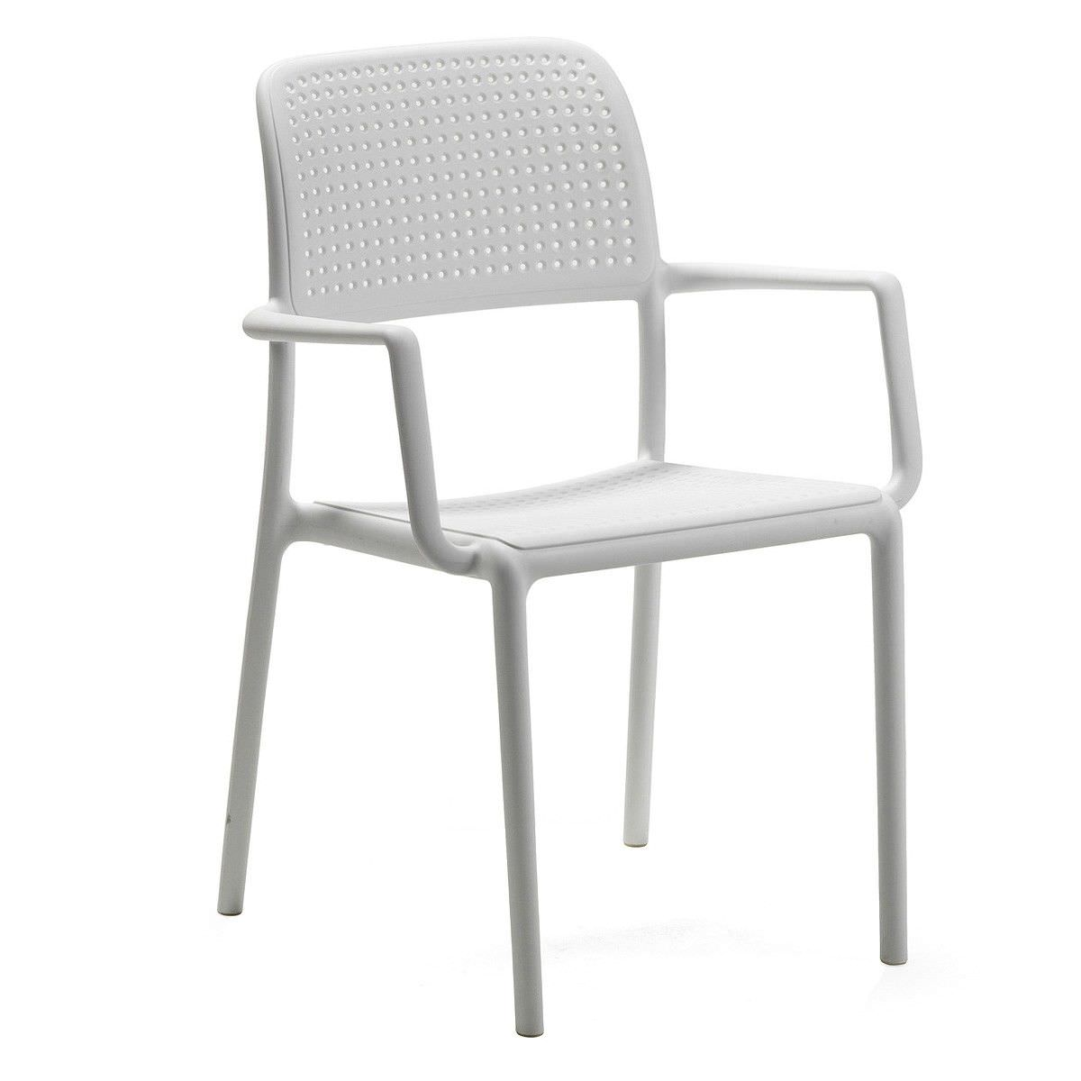 Bora Italian Made Commercial Grade Stackable Indoor/Outdoor Side Armchair - White