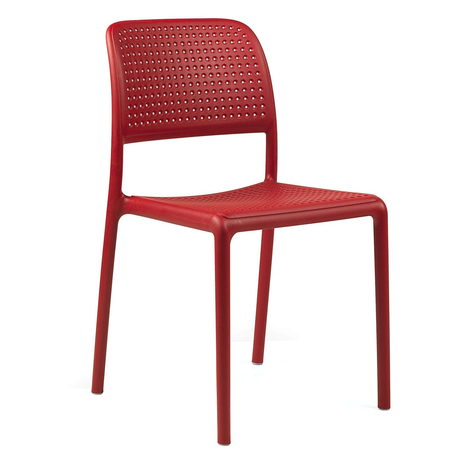 Bora Italian Made Commercial Grade Stackable Indoor/Outdoor Side Chair - Red
