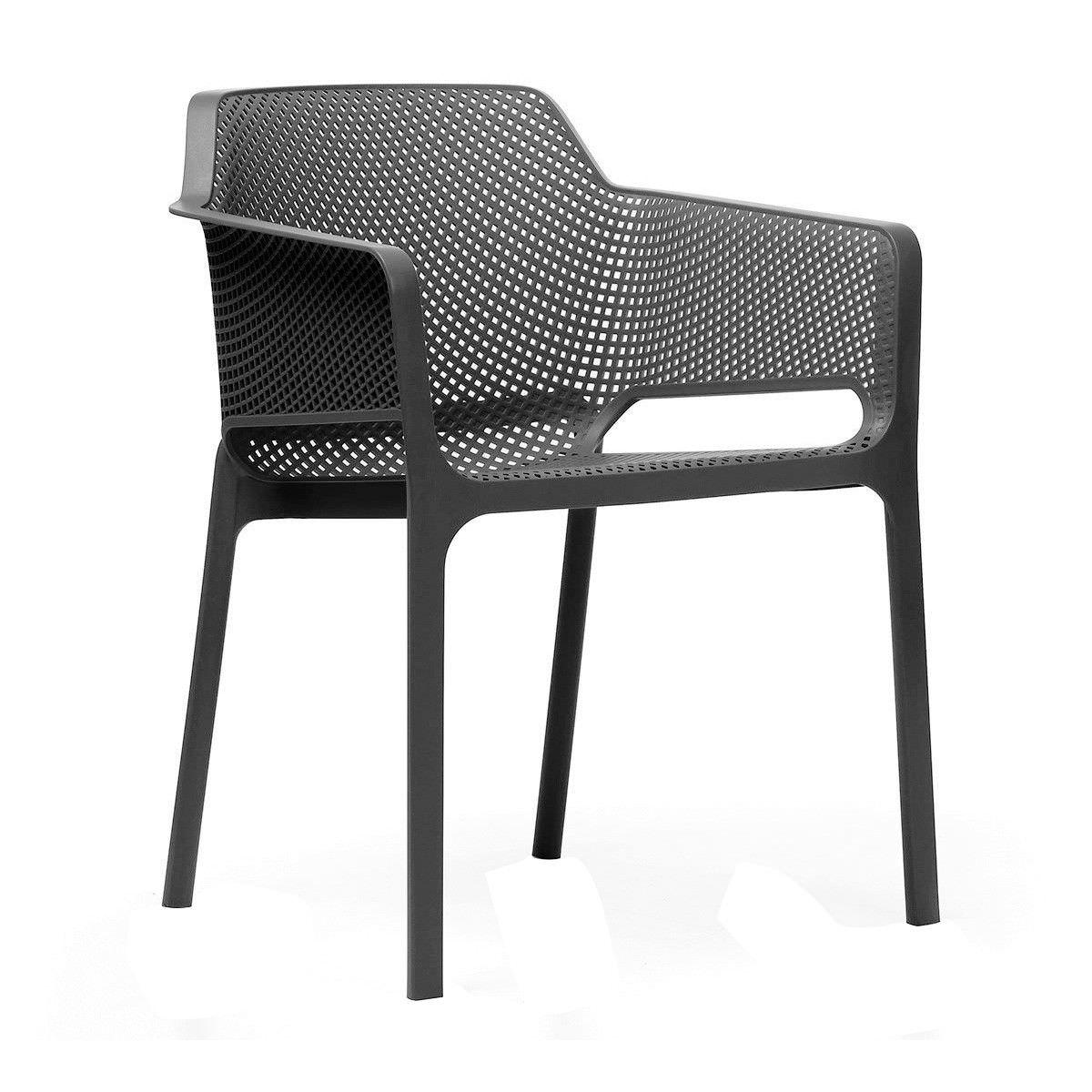 Net Italian Made Commercial Grade Stackable Indoor/Outdoor Armchair - Anthracite