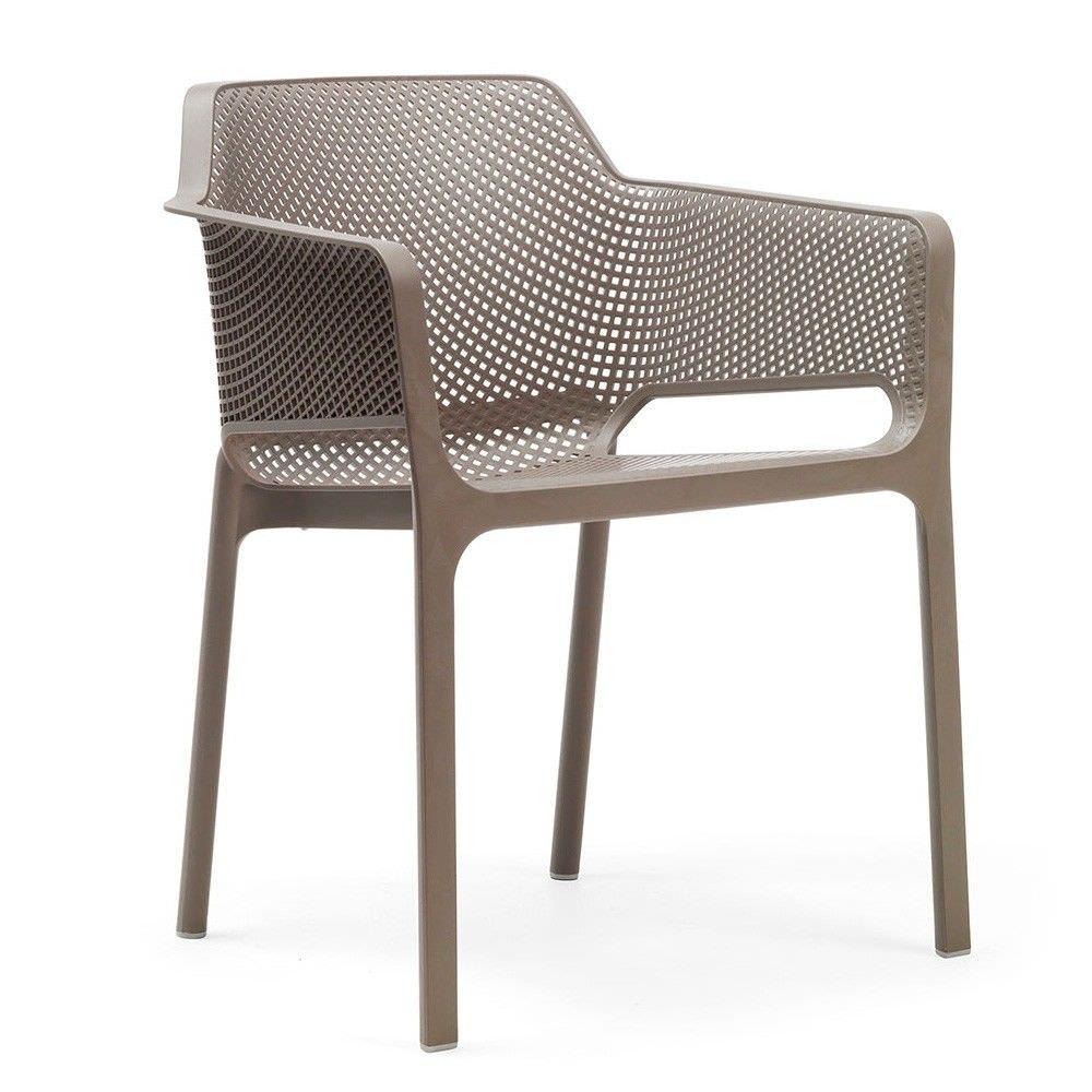 Net Italian Made Commercial Grade Stackable Indoor/Outdoor Armchair - Taupe
