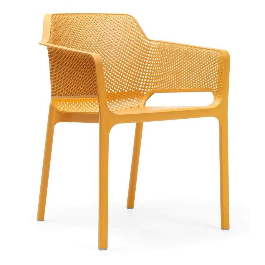 Net Italian Made Commercial Grade Stackable Indoor/Outdoor Armchair - Yellow