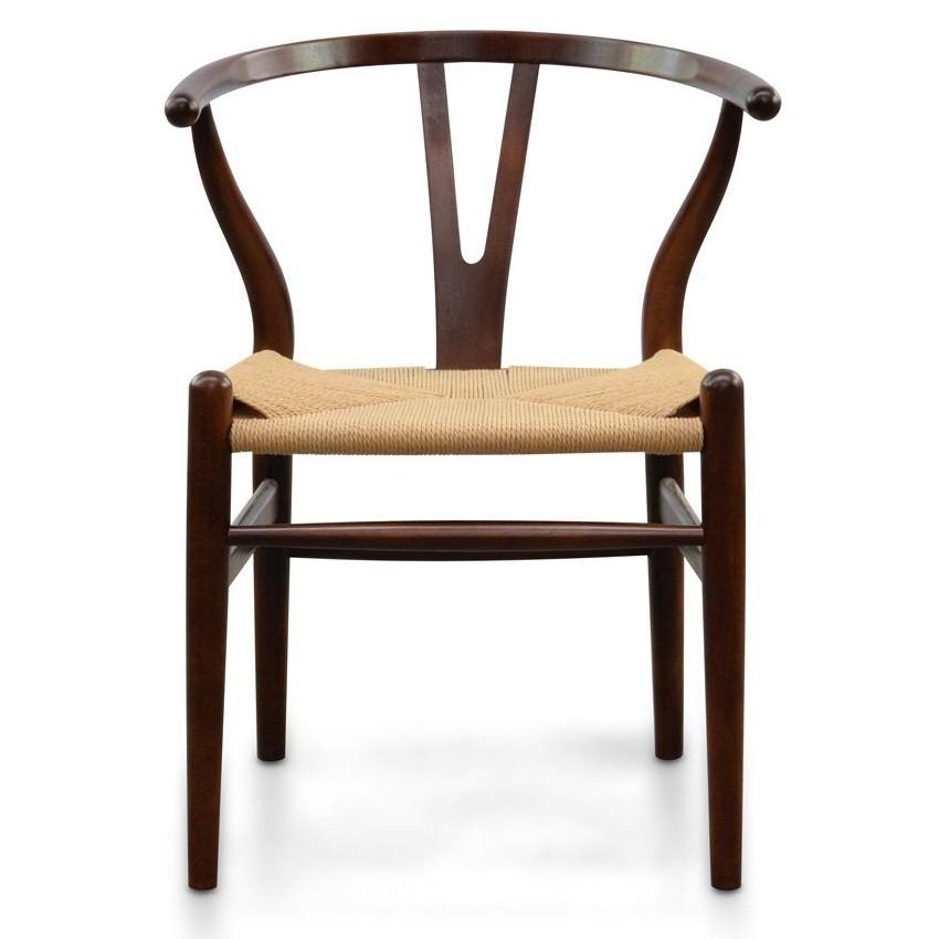 Replica Hans Wegner Wishbone Chair with Cord Seat, Walnut