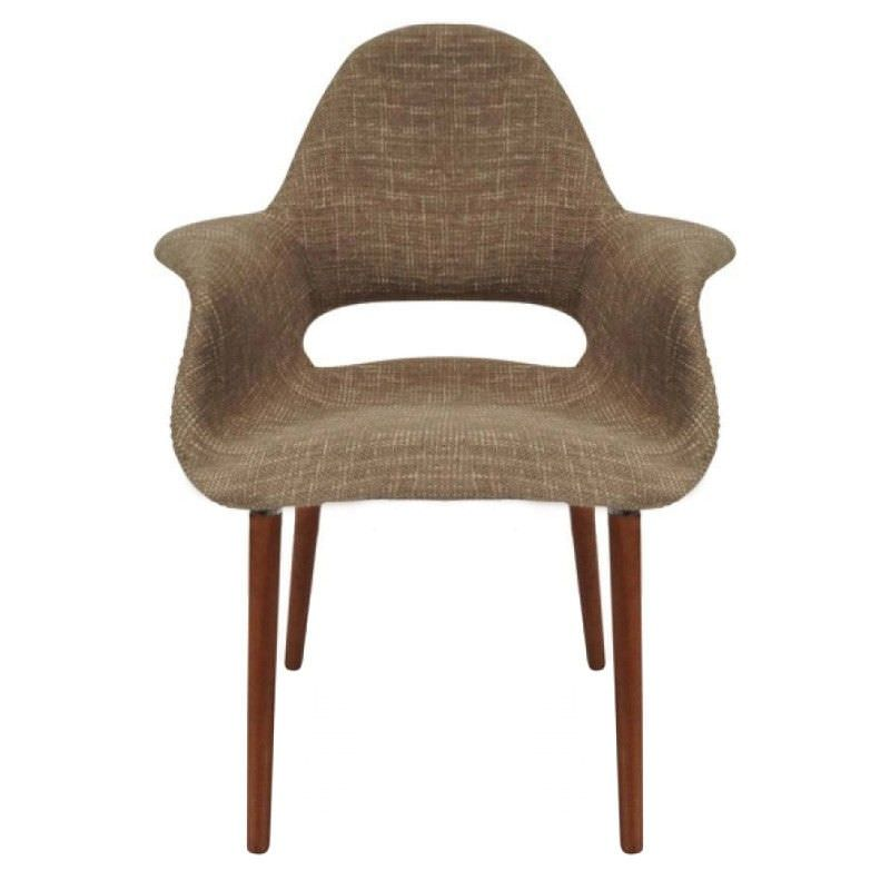 Replica Eames Saarinen Organic Commercial Grade Fabric Upholstered Dining Armchair - Light Brown