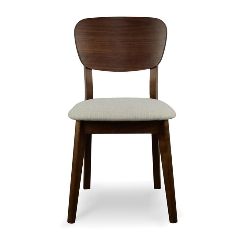 Heidal Scandinavian Dining Chair with Fabric Seat, Walnut
