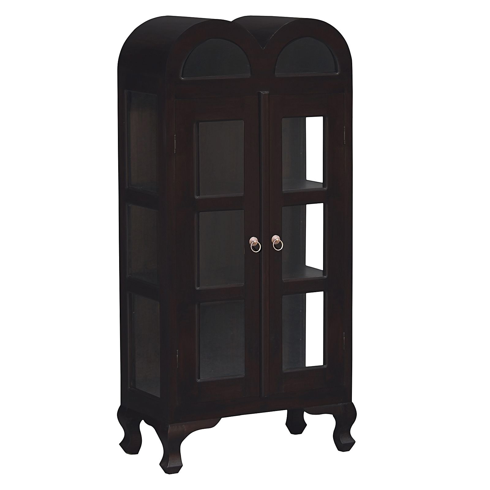 Gaidar Mahogany Timber Double Door Display Cabinet, Small, Chocolate