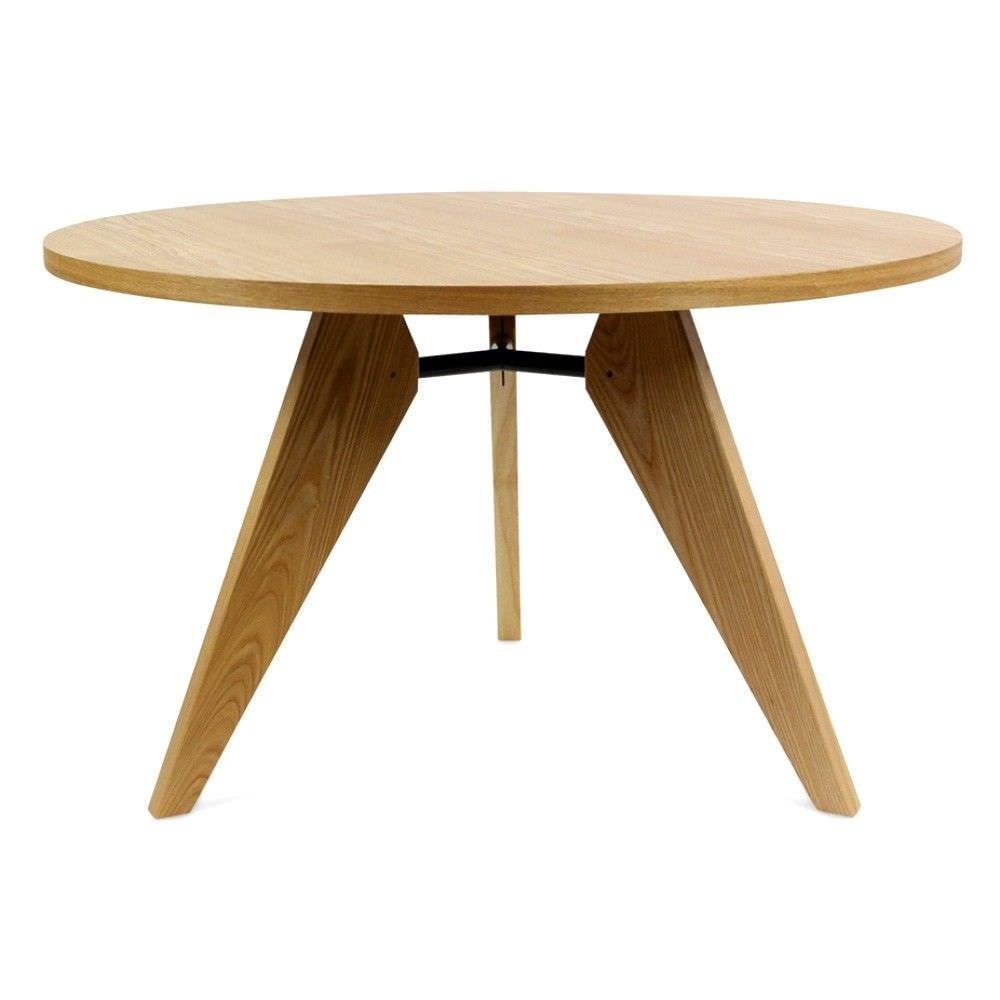 Replica Jean Prouve Round Dining Table, 120cm, Natural