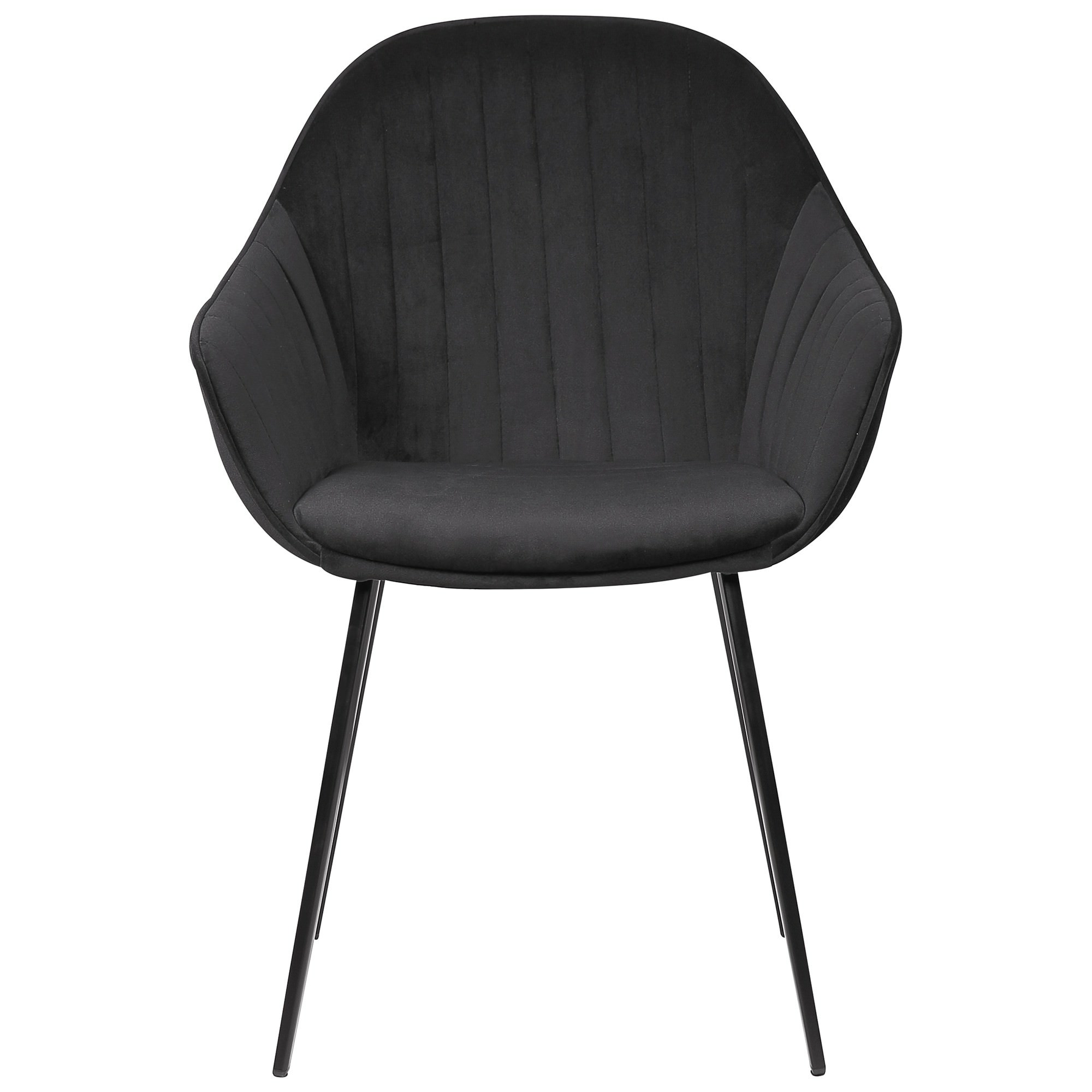 Eford Commercial Grade Velvet Fabric Dining Chair, Black